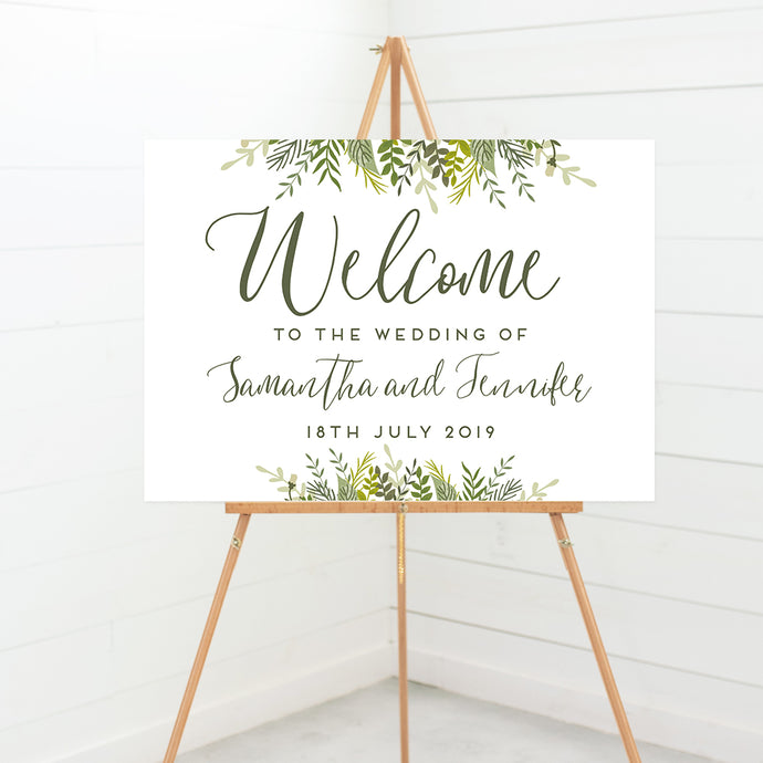 Evergreen wedding welcome sign