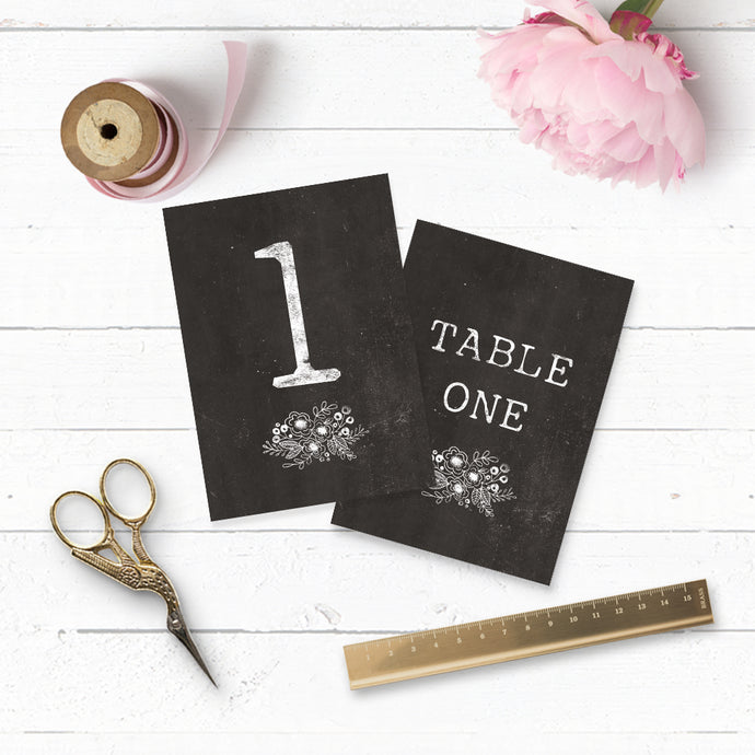 Floriana Chalkboard Table Numbers