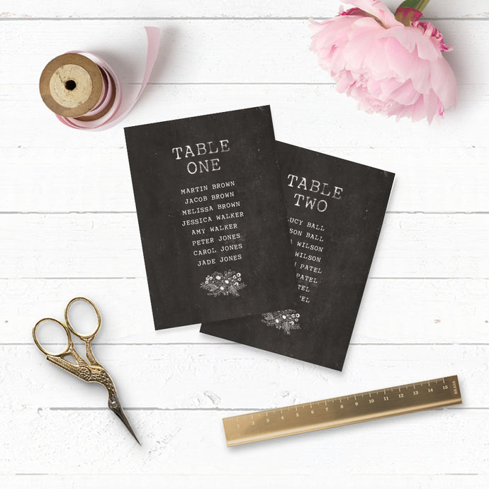 Floriana Chalkboard Table Plan Cards