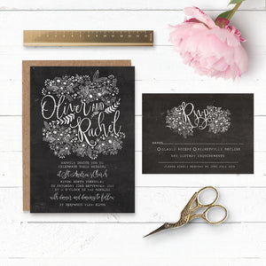 Floriana Chalkboard Wedding Invitation & RSVP