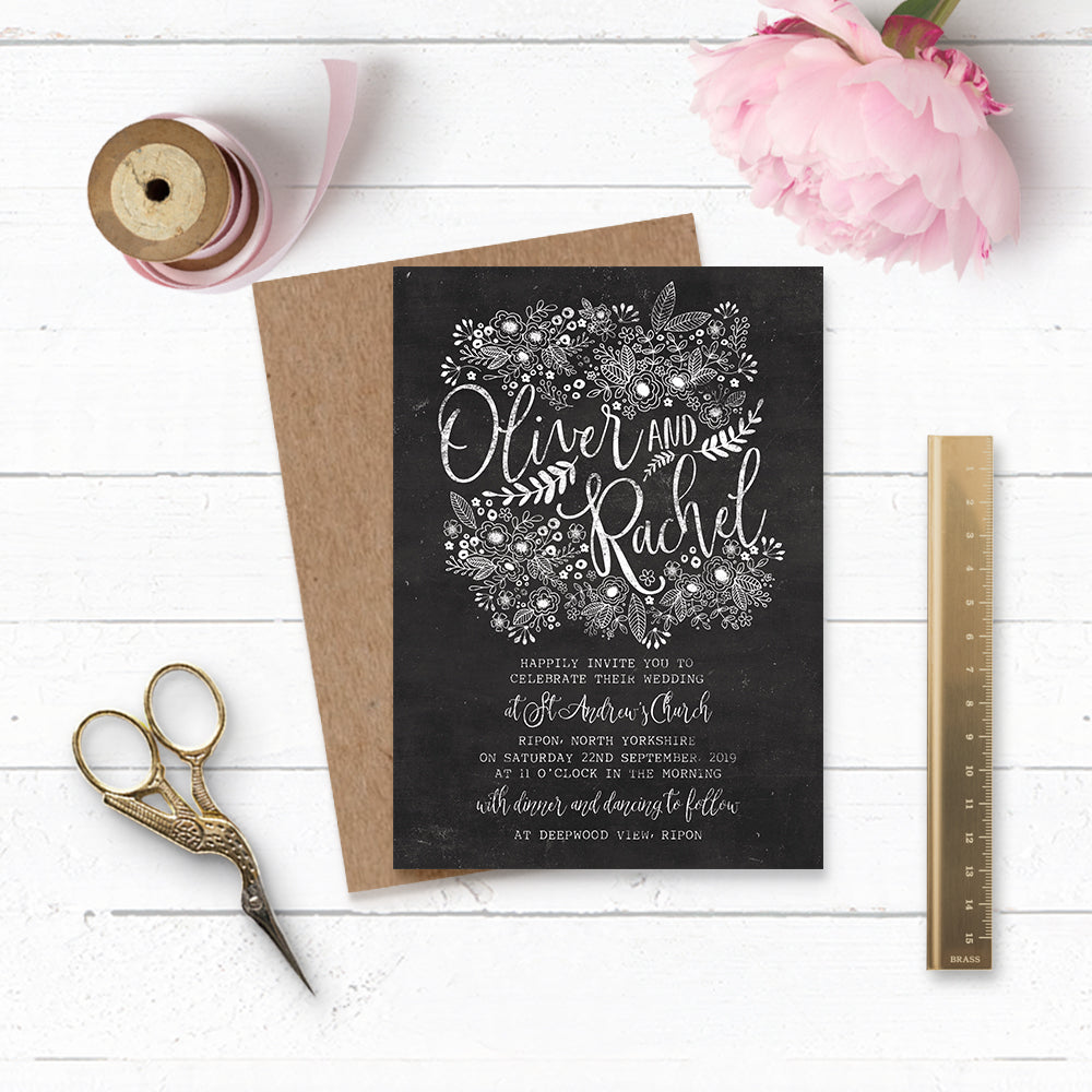 Floriana Chalkboard Wedding Invitation Suite