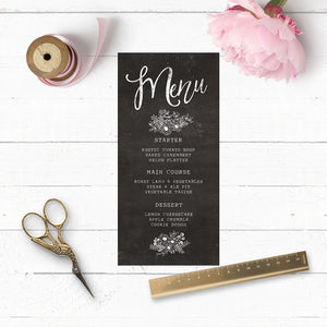 Floriana Chalkboard Wedding Menu