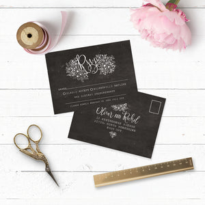 Floriana Chalkboard Wedding RSVP Card