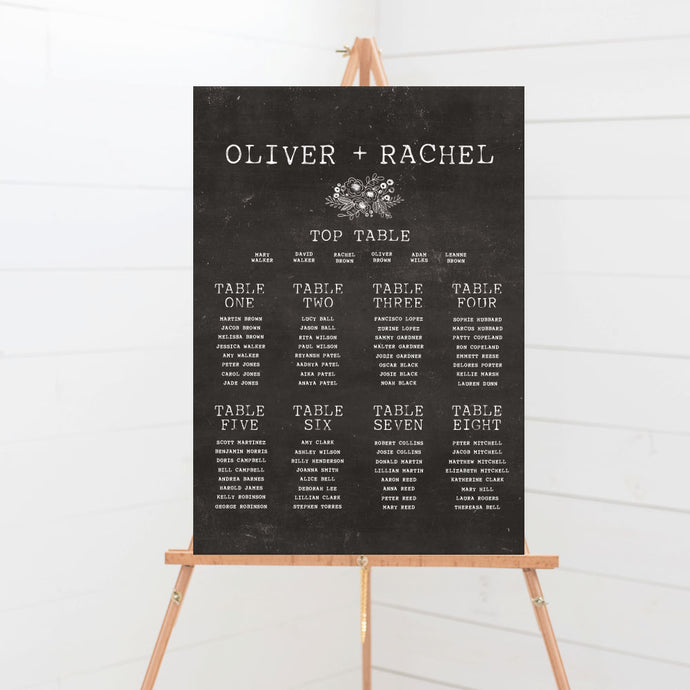 Floriana Chalkboard Wedding Table Plan