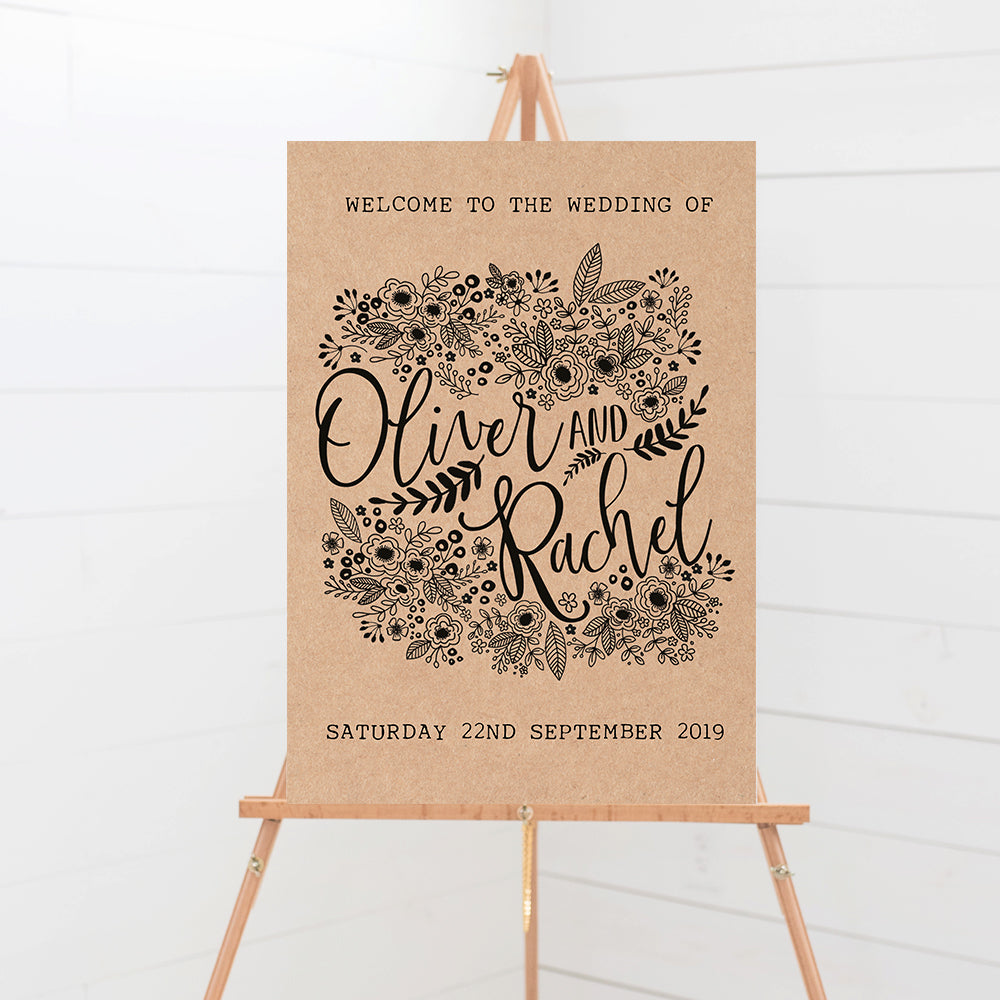 Floriana Kraft Wedding Welcome Sign