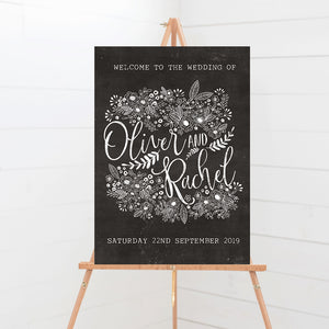 Floriana Chalkboard Wedding Welcome Sign