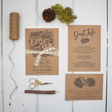 Load image into Gallery viewer, Floriana Kraft Wedding Invitation Suite
