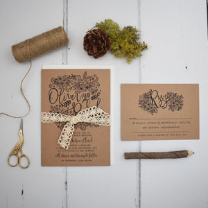 Floriana Kraft Wedding Invitation Suite