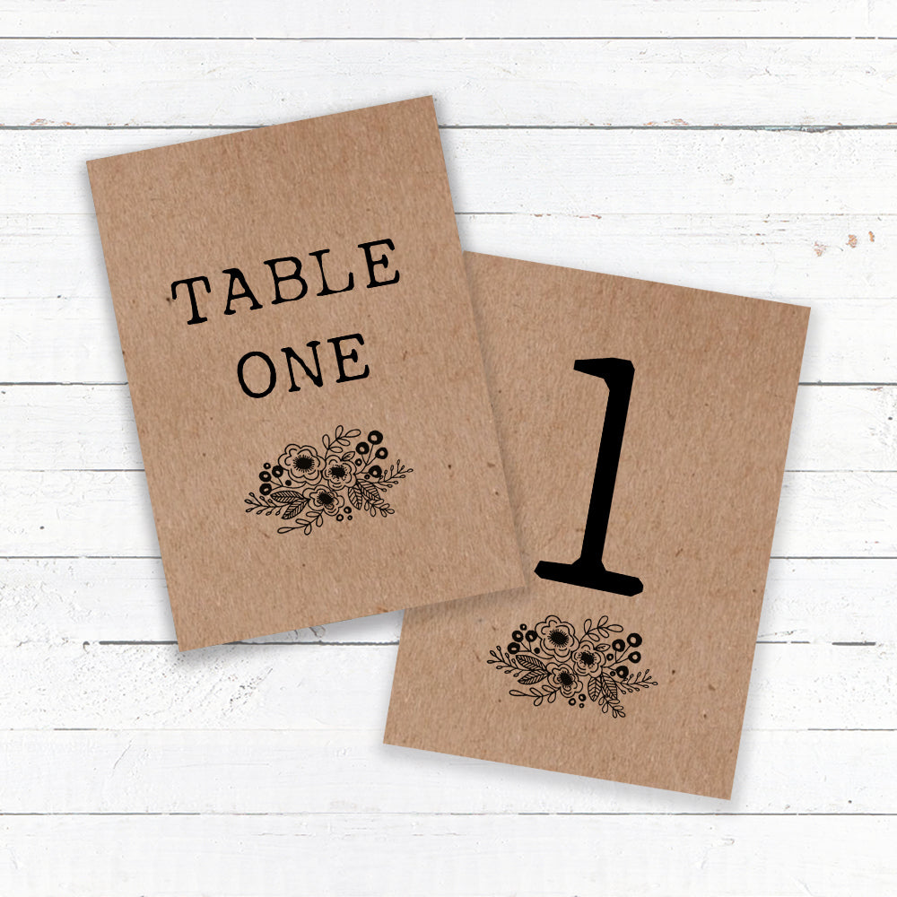 Floriana Kraft Table Names & Numbers