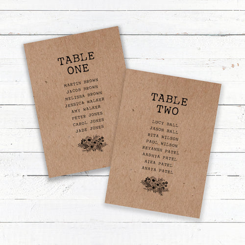 Floriana Kraft Wedding Table Plan Cards