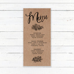 Floriana Kraft Wedding Menu