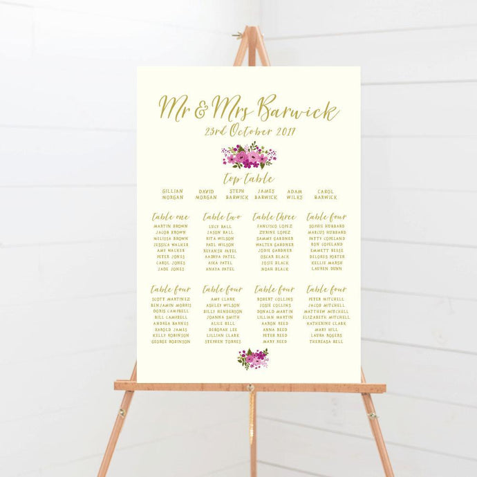 Happily Ever After Floral Wedding Table Plan