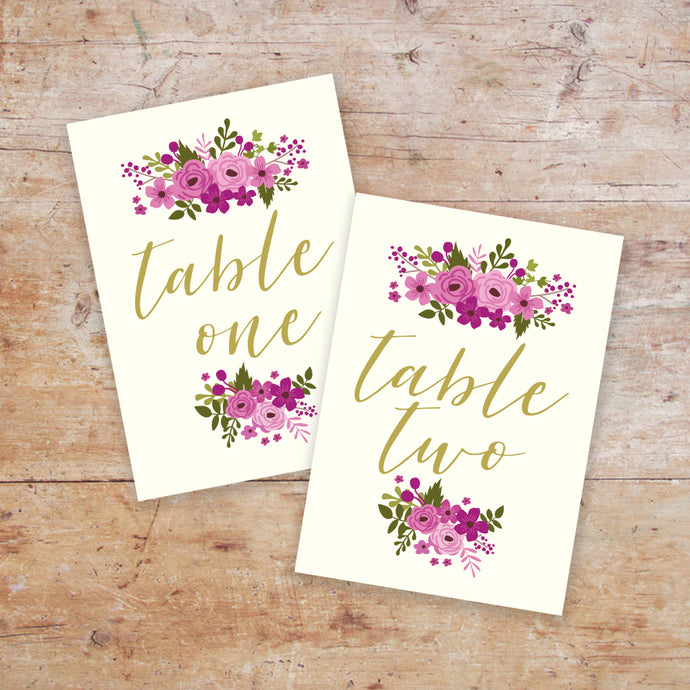 Happily Ever After Table Names & Numbers