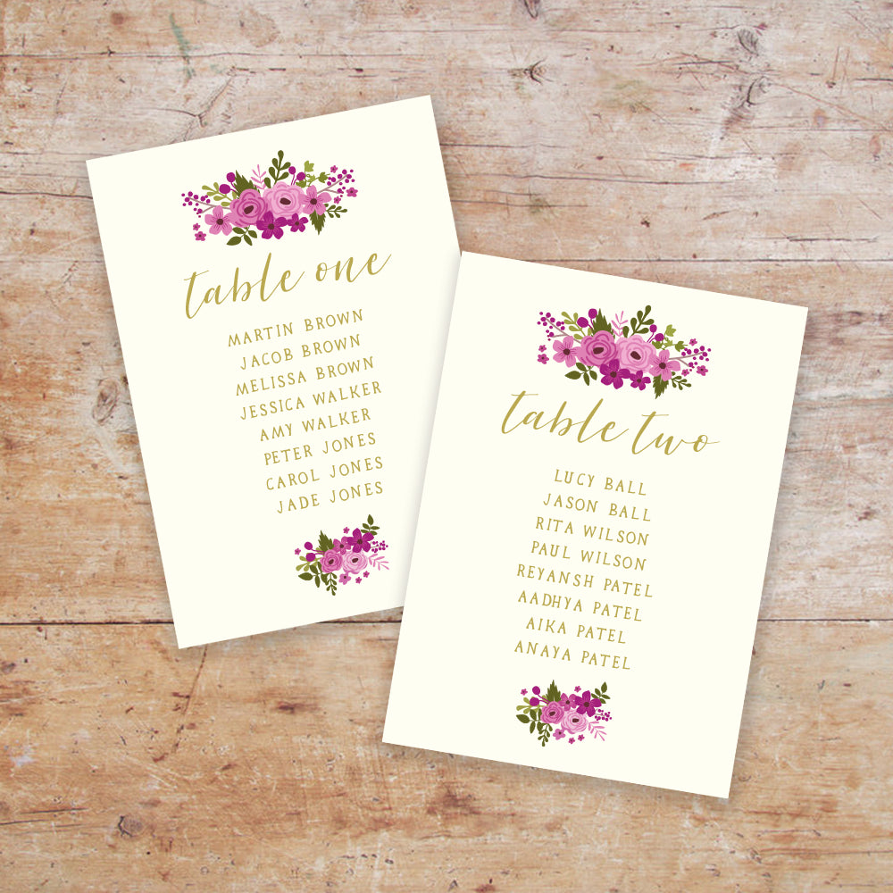 Happily Ever After Wedding Table Plan Cards