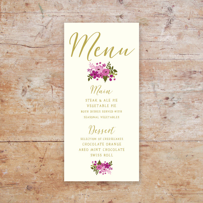 Happily Ever After Wedding Menu