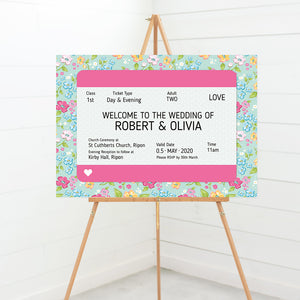 Train Ticket Wedding Welcome Sign