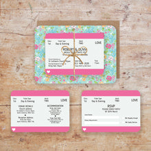Load image into Gallery viewer, Journey Train Ticket Wedding Invitation