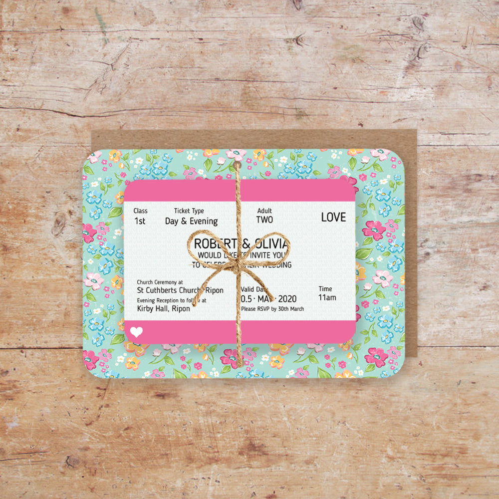 Journey Train Ticket Wedding Invitation