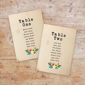 Love Story Wedding Table Plan Cards