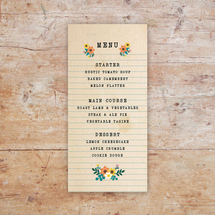 Love Story Wedding Menu