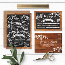 Load image into Gallery viewer, Rustic Chalkboard Wedding Invitation & RSVP