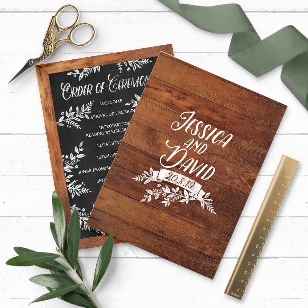 Rustic Chalkboard Wedding Order of Service Sheet