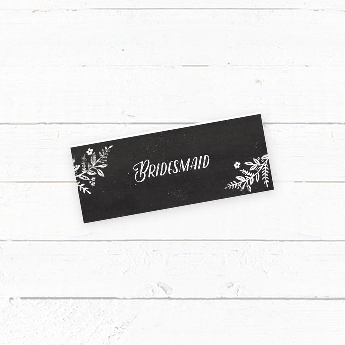 Rustic Chalkboard Wedding Tent Fold Place Card