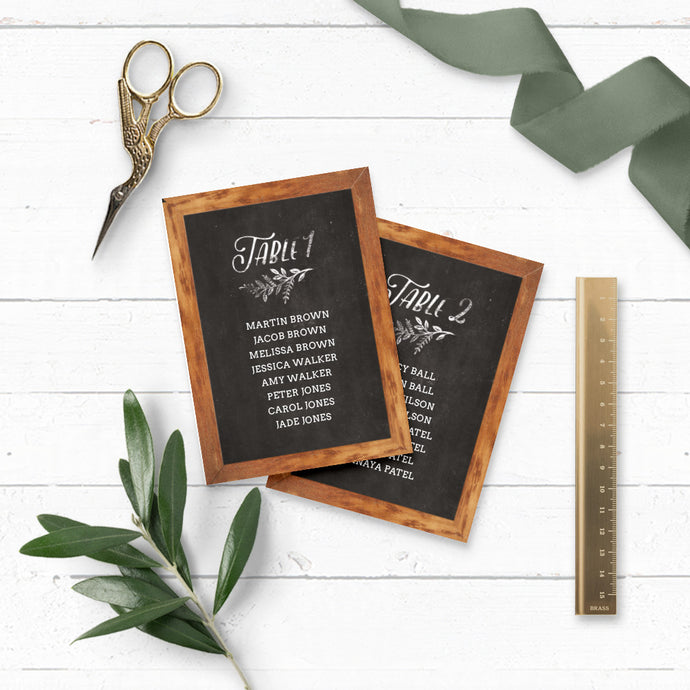 Rustic Chalkboard DIY Wedding Table Plan Cards