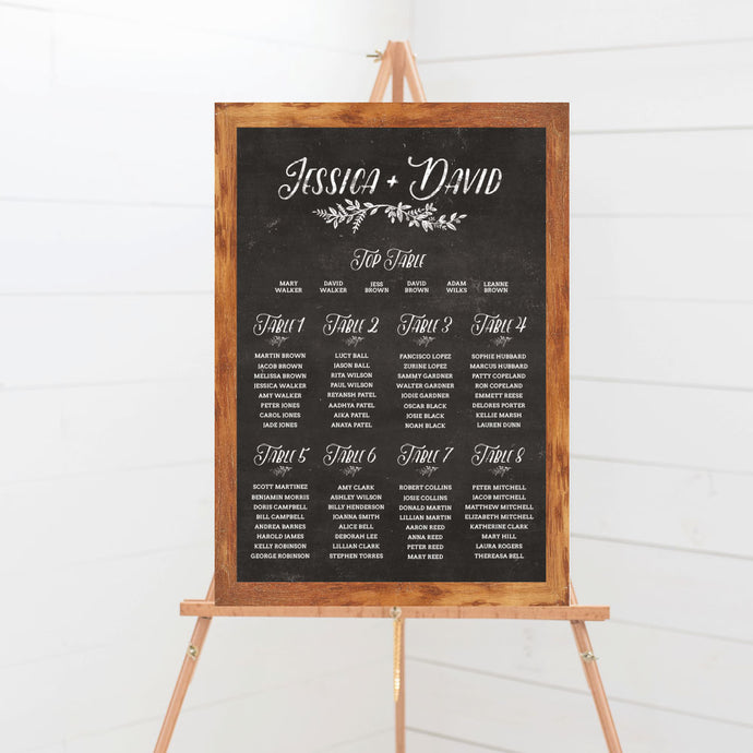 Rustic Chalkboard Wedding Table Plan