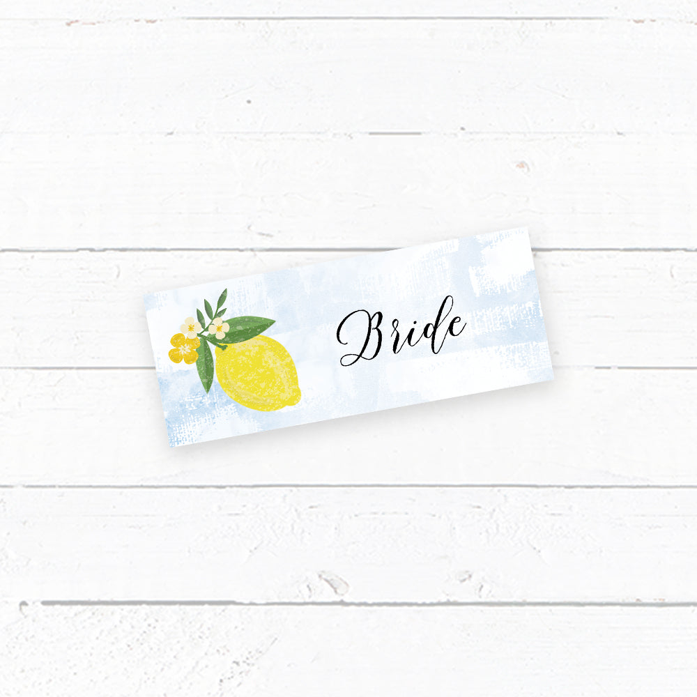 Sorrentino Lemon Wedding Tent Fold Place Card