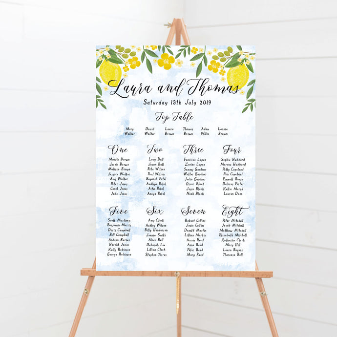 Sorrentino Lemon Wedding Table Plan