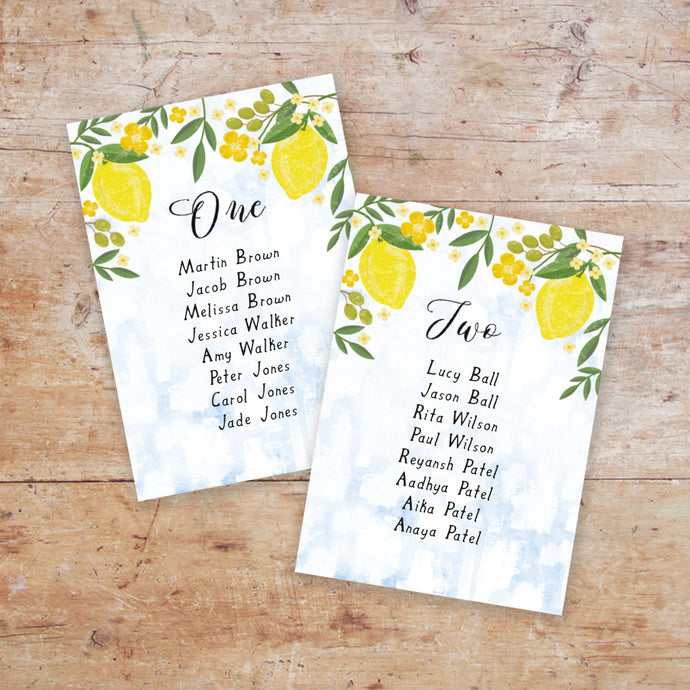 Sorrentino Wedding Table Plan Cards