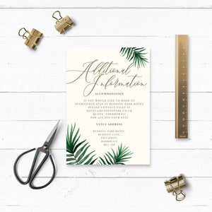 Tropical Botanics Watercolour Wedding Additional Details Card