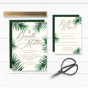 Tropical Botanics Watercolour Wedding Invitation & RSVP