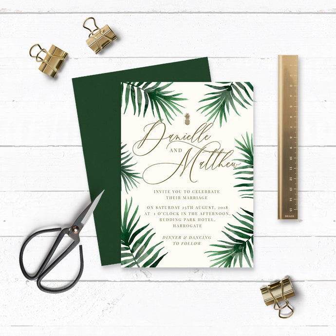 Tropical Botanics Watercolour Wedding Invitation & Envelope