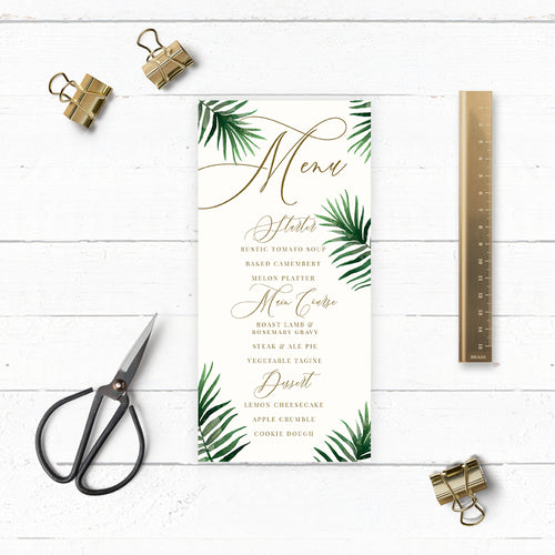 Tropical Botanics Watercolour Wedding Menu