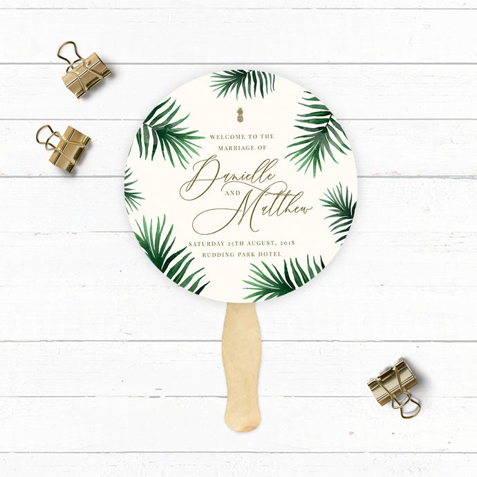 Tropical Botanics Circular Order of Service Fan with Wooden Handle