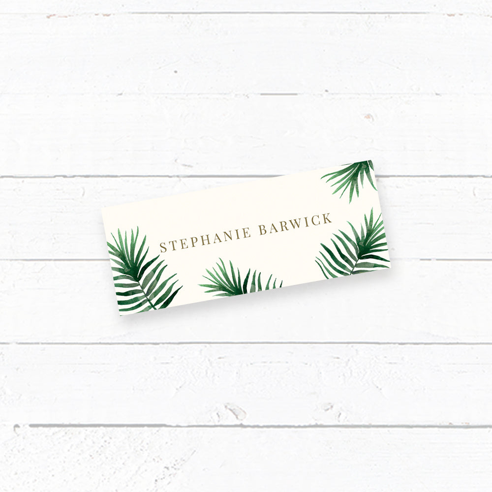 Tropical Botanics Tent Fold Wedding Place Card