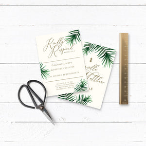 Tropical Botanics Watercolour Wedding RSVP