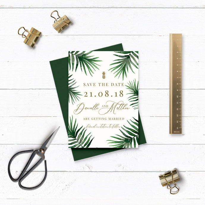 Tropical Botanics Watercolour Wedding Save the Date