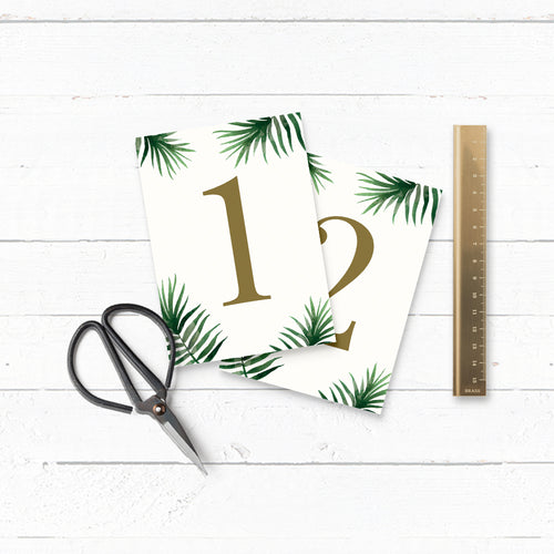 Tropical Botanics Watercolour Wedding Table Number Cards