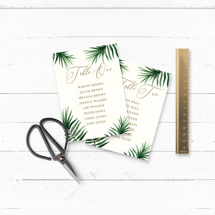 Tropical Botanics DIY Wedding Table Plan Cards