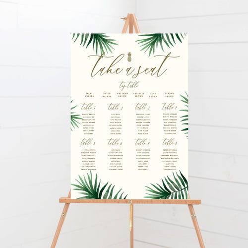 Tropical Botanics Wedding Table Plan