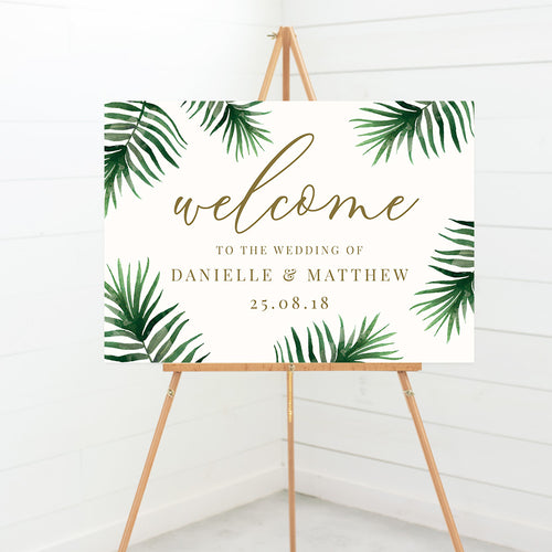 Tropical Botanics Wedding Welcome Sign
