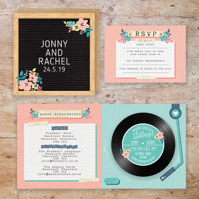Vinage Vinyl Wedding Invitation