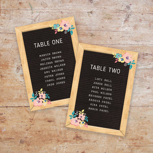 Letterboard Love Wedding Table Plan Cards