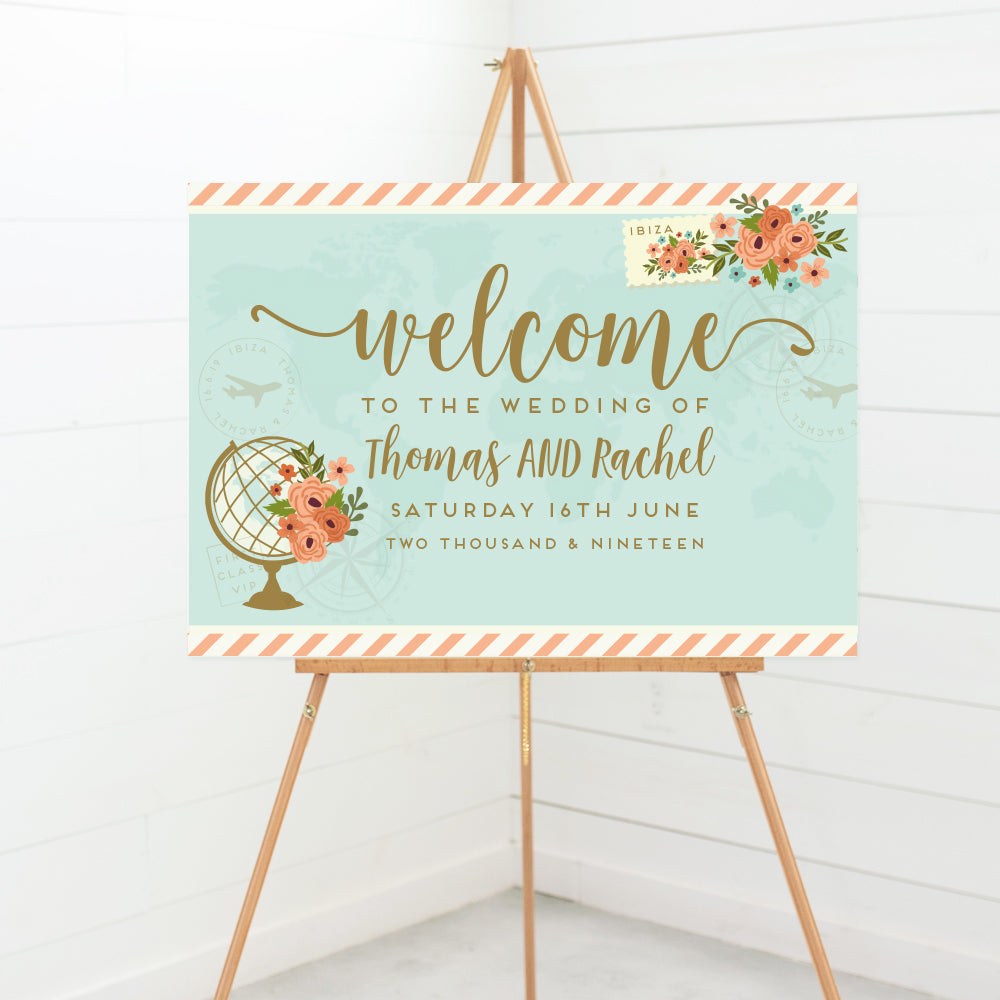 Wanderlust Wedding Welcome Sign