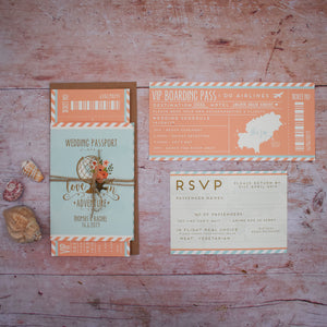 Wanderlust Wedding Passport Invitation Suite