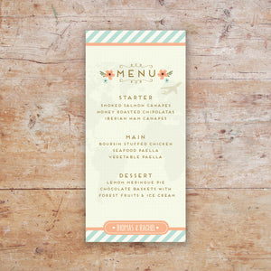 Wanderlust Wedding Menu