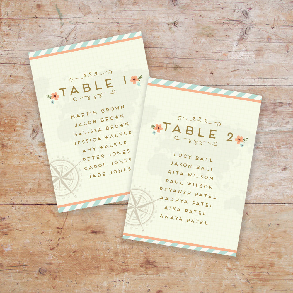 Wanderlust Wedding Table Plan Cards